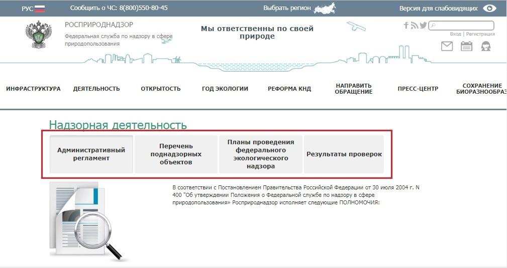 Функции Росприроднадзора в направлении надзорной деятельности