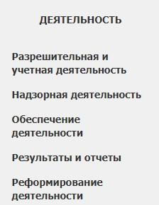 Раздел «Деятельность»