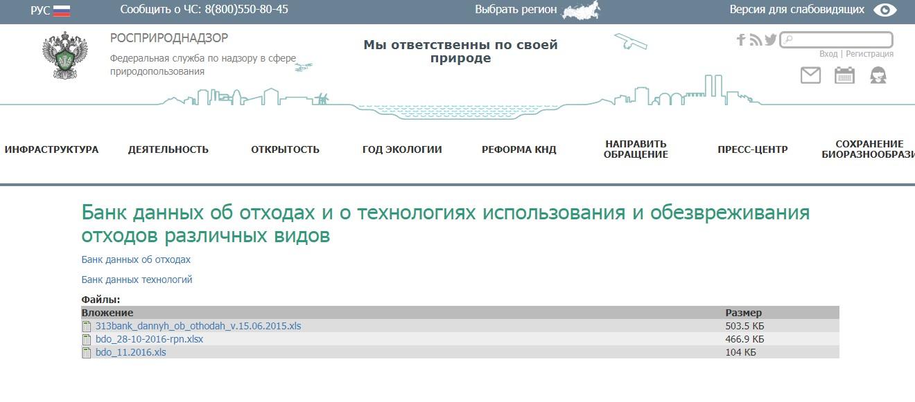 «Банк данных отходов» на сайте